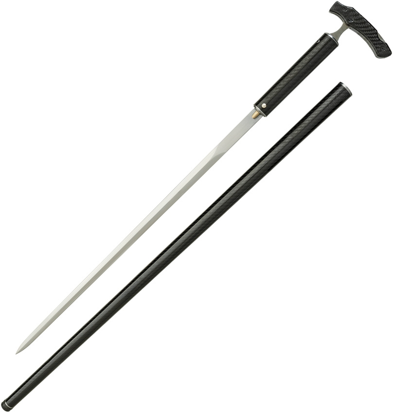 DRAGON KING Carbon Fiber Cane Sword w/LockBack Knife